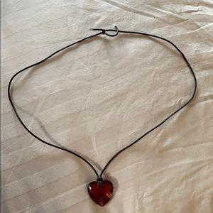 Swarovski red heart pendant necklace.